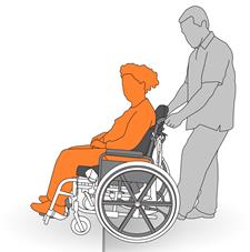 5. Tilting a wheelchair to manage a slight elevation.