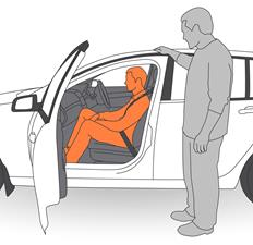4. Apply seatbelt around client.