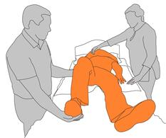 Put client's leg in position for roll