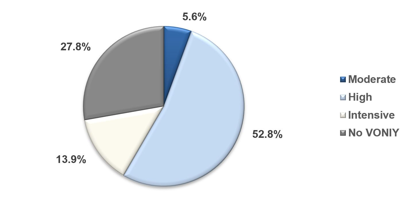 A pie graph divided into four segments. The largest segment is labelled High. It is 52.8 per cent of the total. The second-largest segement is labelled No VONIY. It is 27.8 per cent of the total. The third-largest segment is labelled Intensive. It is 13.9 per cent of the total. The last and smallest segment is labelled Moderate. It is 5.6 per cent of the total.
