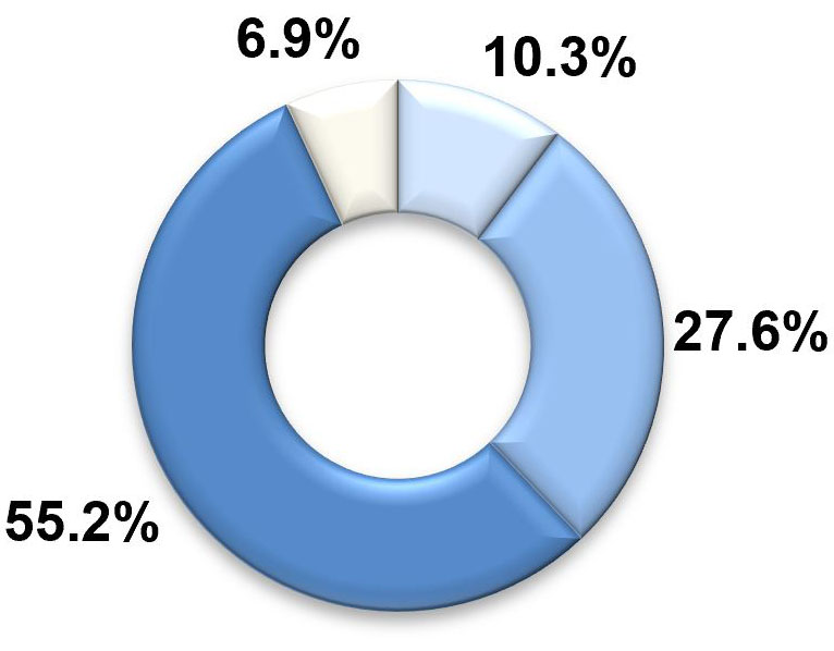 A pie chart with four segments. The largest two segments, labelled 'similar to most' and 'more than most' represent 55.2 per cent and 27.6 per cent respectively. The third-largest segment, labelled 'much more than most', represents 10.3 per cent. The smallest segment, labelled 'less than most', represents 6.9 per cent.