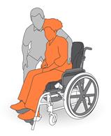 1. Stand beside client in wheelchair.