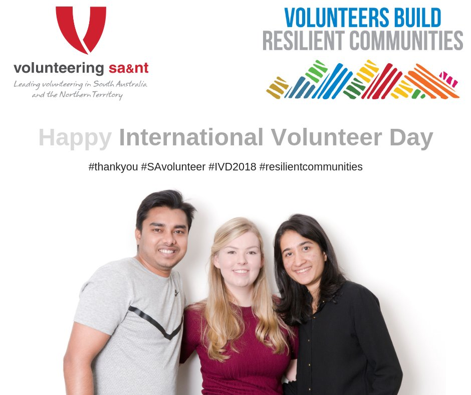 Volunteering SA&NT. #ThankYou. #SAVolunteer. #IVD2018. #ResilientCommunities