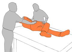 2. Assist client to roll to side and set the sling in place.