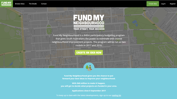 Web Home Page for fund my neighbourhood grant program