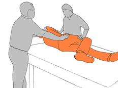 2. Put client's leg in position for roll